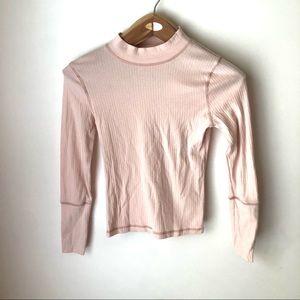 Free People Rickie Top Mock Neck Light Pink Knit